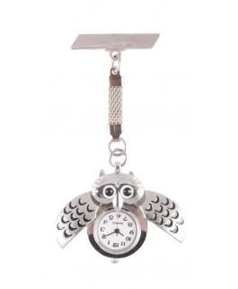 Reloj de Enfermeras Búho Plata