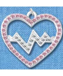 Colgante Latido de Corazón Plateado-Rosado (grande)