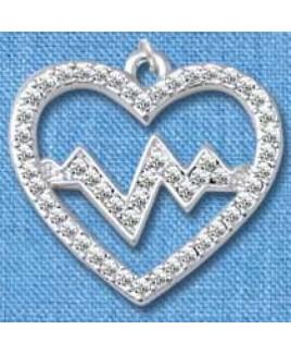 Colgante Latido de Corazón Plateado (grande)