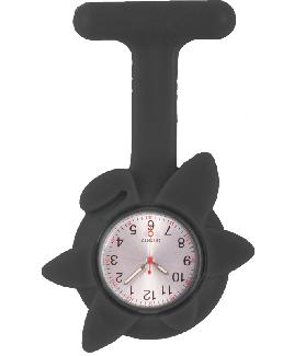 Reloj de enfermera Flor Primavera Negro