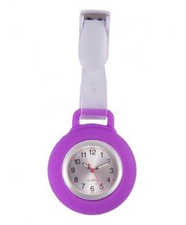 Reloj Enfermera Silicona Pinza Violeta
