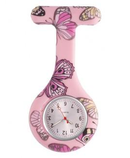 Reloj enfermera Silicona Mariposa Rosa
